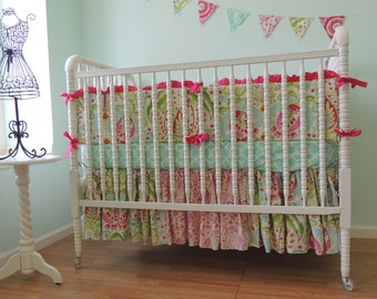 "Custom Crib Bedding using Dena Design's ""Kumari Garden"", Kumari Garden Baby Bedding, Pink Aqua Baby Bedding, Project Nursery"