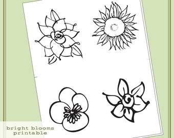 Instant Download Hero Arts Bright Blossoms Printable Digital Kit PT003