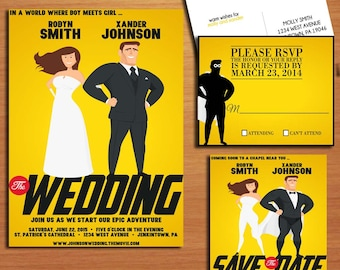 Super Hero Movie Poster Wedding Collection / Invitation / RSVP / Save the Date Postcard PRINTABLE / DIY