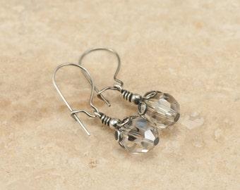SALE 50% Off | Sterling Silver Crystal Earrings | Oxidized Solid Sterling Silver | Dangle Earrings | Swarovski Elements ES292