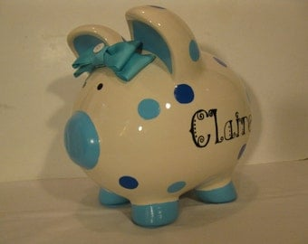 Personalized, Handpainted, Polka Dotted Piggy Banks -  MADE TO ORDER - Polka Dots with name in any Font