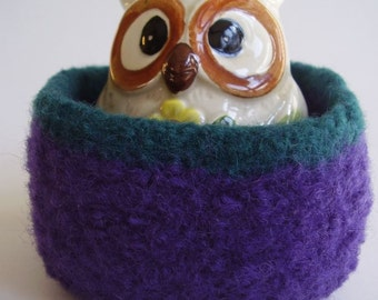 felted wool bowl container desktop storage plum and teal square