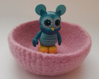 felted wool bowl container jewelry holder candy dish desktop storage cotton candy pink
