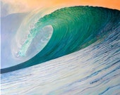 """EMERALD DREAMS  11"""" x 14"""" Giclee Print on Stretched Canvas/ Surf Art"""