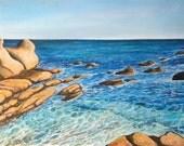 "SECRET BEACH  11"" x 14"" Giclee on Stretched Canvas Print/ Seascape"