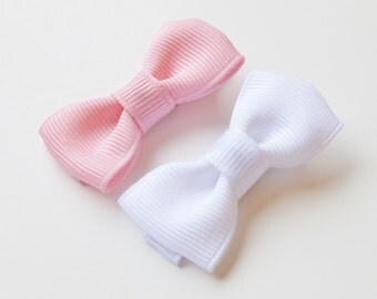 pink and white white baby hair bow set-- small tuxedo bows accessories for baby toddler big girls baby shower gift ideas