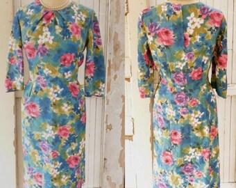 Vintage 1950s Wiggle Dress 50s Mad Men Watercolor Floral Bombshell Dress VLV Vavoom Medium