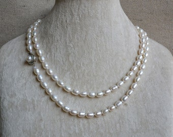 long Pearl Necklaces, 34 inches 6-7 mm white freshwater pearl necklaces, real pearl necklace, bridesmaid jewelry, white rice pearl
