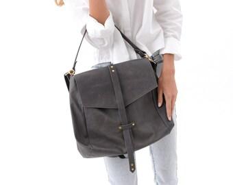 Over the Shoulder Handbag for Everyday Wear, Leather Fashion Purse in Grey, Soft Genuine Hobo Bag, Designer Carryall Purse, Minimalist Bag