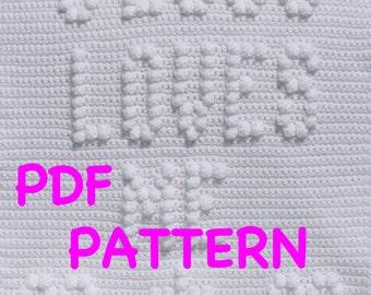 Jesus Loves Me Baby Blanket  Pattern - Wall Hanging - Christening Blanket Pattern - Baptism Blanket Pattern  - Baby Snuggle Blanket Pattern