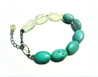 SALE - Teal Bronze Beaded Bracelet