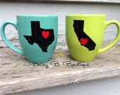 Best Friend Coffee Mug Set // Going Away Gift // Long Distance Friendship // State Coffee Mug Set of 2