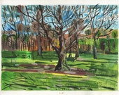"""Landscape Painting """"Loose Park, Kansas City, Missouri"""" Watercolor and Gouache. 8"""" x 11"""""""