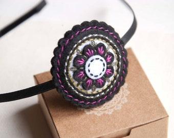 Felt flower headband in black and white, hand embroidered headband