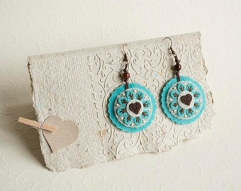 Round felt earrings with flower and heart, felt embroidered earrings
