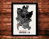 San Diego Wedding Map Art   San Diego Wedding Gift   San Diego Art Print   San Diego Poster   San Diego Map