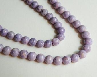 Riverstone beads in light purple lavender round gemstone 6mm full strand 9442GS