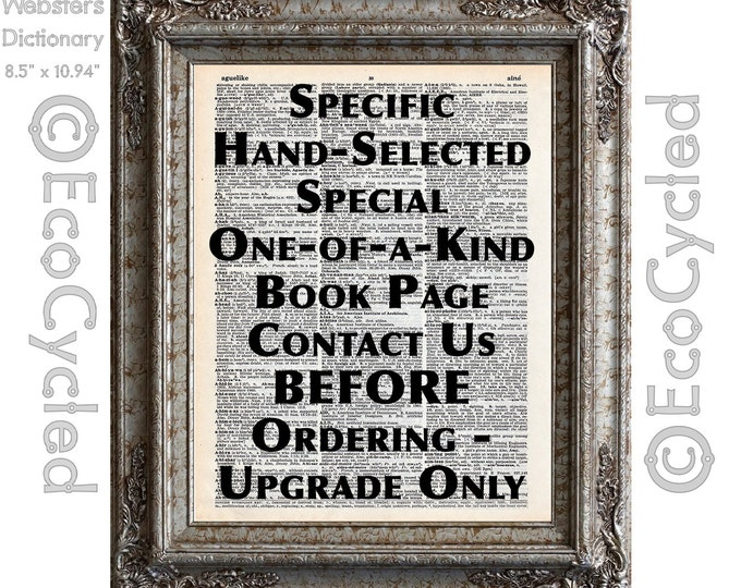 Book Page Upgrade Hand Selected One of a Kind Vintage Upcycled Book Art Print Book Lover Art Personalized Customized book lover gift