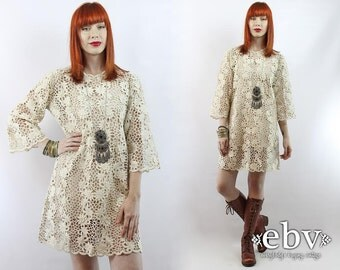 Hippie Wedding Dress Hippie Dress Hippy Dress Boho Dress Boho Wedding Dress Crochet Lace Dress  Vintage 60s Embroidered Floral Mini Dress L