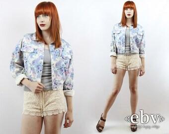 Floral Denim Jacket Floral Jacket 90s Floral Jacket Vintage 90s Floral Jean Jacket L