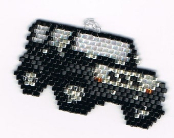 Hand Beaded Black Jeep earrings