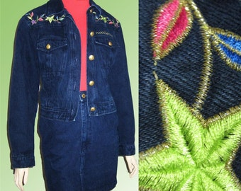 80s ROCCOBAROCCO Embroidered Jean Suit ITALIAN SPENDOR Small Must See Perfect