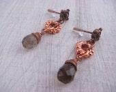 Smokey Copper Dangles (OOAK, simple dangles, delicate jewelry, minimalist, smokey quartz drops, gift for her)
