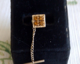 Square Tie Tack with Topaz Like Stones just right for Nov. Birthdays