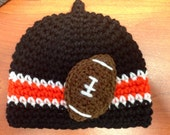 Football Nub Tip Beanie  (Crocheted to Order in sizes newborn - child) - Orange and Black