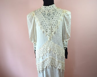 Silk & Lace Wedding Dress Deadstock 80's Does Victorian Size 12  - VDS87