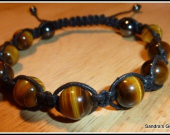 Tigers Eye Macrame Bracelet, Unisex, available in Black or Cream