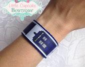 Doctor Who Tardis Velcro Wristband~ Ribbon and Nylon Webbing Cuff Bracelet with Velcro {Ready to Ship} Geek Fandom~ TV, Movies, Comics