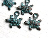 6pc Tiny Turtle charms, small baby turtles, green patina, Greek beads, metal turtle, nautical - 12mm - F019
