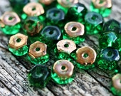 Emerald Green Rondelle beads, Copper luster, fire polished czech glass spacers - 6x3mm - 25Pc - 1364