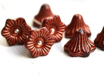 Brown Czech glass flower beads, copper inlays, 13mm Bell, large flowers - 6Pc - 1168