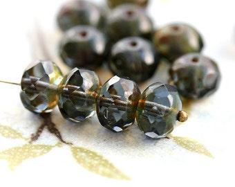 Picasso Czech glass beads - dark Green Grey - donut, rondelle, gemstone cut, fire polished - 6x8mm - 12Pc - 0443