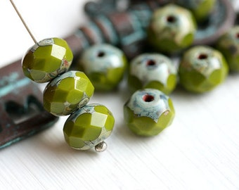Czech spacer beads - Olive Green, Picasso, wasabi green - glass beads, donut, rondelle, gemstone cut - 6x8mm - 12Pc - 1077