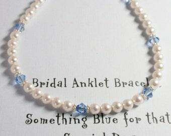 Something Blue Swarovski Crystal & Pearl Ankle Bracelet - Handmade Classic Heirloom Ankle Bracelet for the Bride