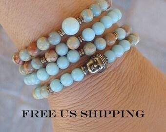 Meditation, 108 Mala, Terra Jasper, Amazonite, Buddha 108 Mala, wrap bracelet or necklace, Prayer beads, Yoga bracelet, Reiki Charged, Mala