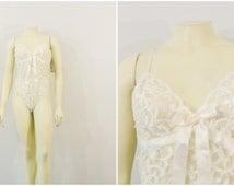 Vintage Teddy Lingerie Cinema Etiole Ivory Bridal Lingerie Lace Hi Cut Onsie Deadstock nwt Medium
