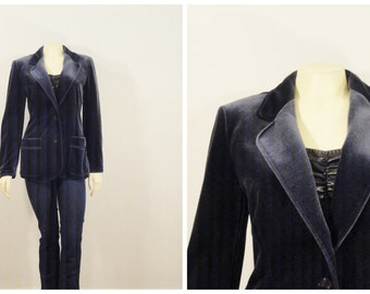 Vintage Blazer Act III Navy Blue Stretch Velvet Jacket Union Made In Usa  Size Small to Medium