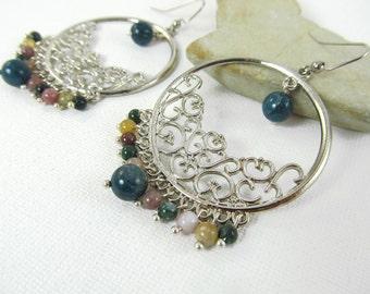 Large Chandelier Earrings, Fancy Jasper Earrings