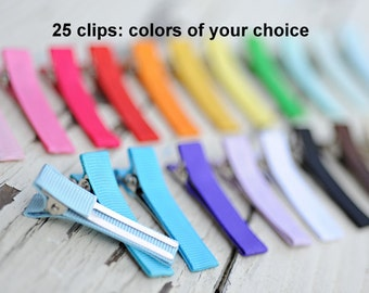 Lined Alligator Clips - Partially Lined Clips - Double Prong - Butts Tucked - Set of 25 - You Choose Colors - Wholesale Clips - Hair Clips