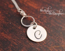 Hand Stamped Jewelry - Necklace in our New Daniela Font - Initial Necklace with Dangle Link - Bridesmaid Gift Valentine's Day