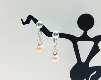 CLIPS - Peach Pearl and Crystal Clip Earrings - FREE SHIPPING