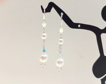 Long White Pearl and Crystal Dangle Earrings  - FREE SHIPPING