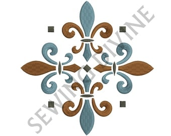 EMBROIDERY DESIGN FLEUR de lis Decorative 4x4 5x7 6x10 and 8 Formats Instant Download Fleur de lys