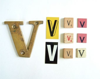 Letter V in Brass, Paper, Metal, Wood - 9 piece assortment