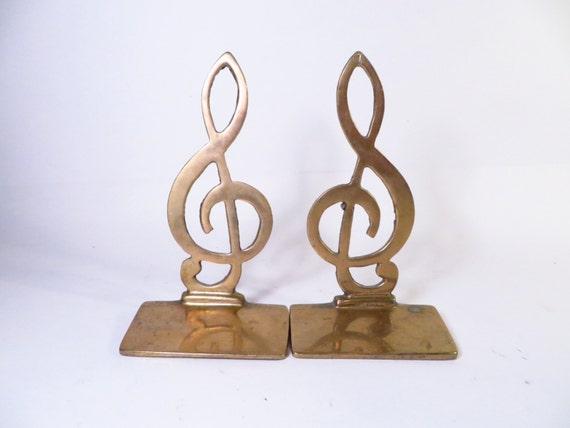 Vintage brass treble clef bookends brass musical bookends - Treble clef bookends ...