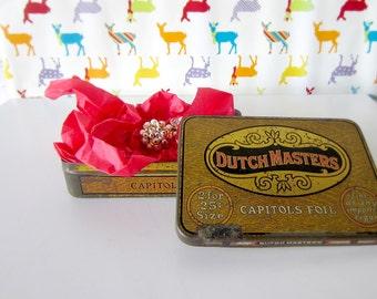 40%Off Sale - Vintage Dutch Masters Cigar Tin - Mad Men Decor - Men's Gift - Gift Box - Jewelry Box